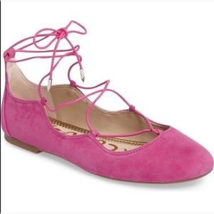 Sam Edelman Pink Suede Ankle Tie Wrap Bow Flats